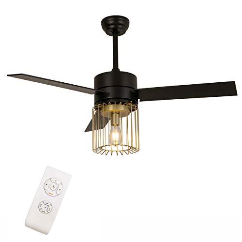 Ventilador de techo de 52 pulgadas con iluminación LED moderna de techo y mando a distancia, lámpara de ventilador E27, bombillas regulables, alas de madera, 3 juegos de velocidad