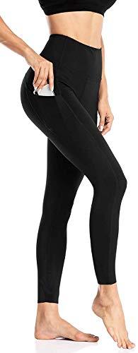 Anwell Damen Leggings Mit Handytasche Lang Frauen Sporthose Stretch-Hose Yogahose Laufhose Fitnesshose Yoga Sport Leggings Tights Schwarz S