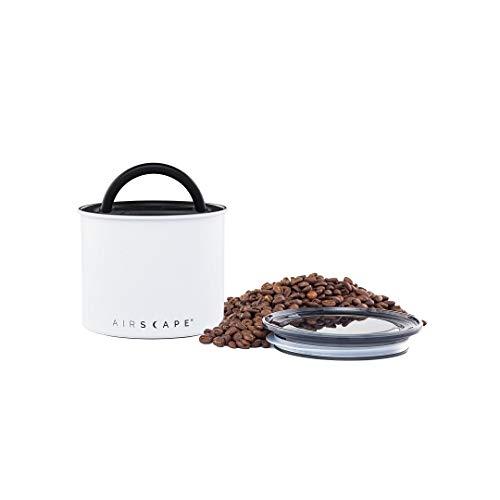 Airscape Kaffee und Lebensmittel Vorratsdose – Patentierter luftdichter Deckel bewahren Lebensmittel Frische mit Zwei-Wege-C02 Ventil, Edelstahl Lebensmittelbehälter Small matt weiß