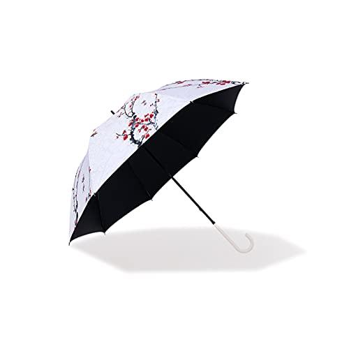 Yuansr Paraguas de Gran tamaño para Hombres y Mujeres con Mango de Gancho de Madera a Prueba de Viento y Paraguas de Secado rápido Manual Abierto (Blanco)