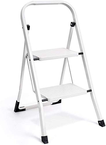 wohouse 2 Step Ladder Folding Step Stool Ladder with Hand Grip Anti-Slip Sturdy and Wide Pedal Multi-Use for Household and Office Portable Step Stool 300lbs White (2 feet)