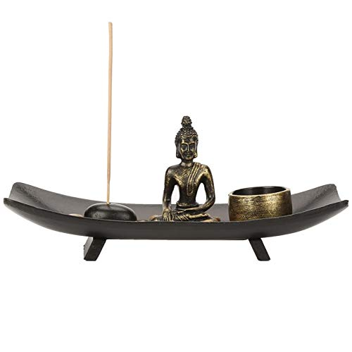 HERCHR Bruciatore di incenso Kit da Giardino Zen Supporto per Bastoncini di incenso Portacandele per Tavolo Decorazione di Buddah Buddismo Candeliere Articoli per l'arredamento
