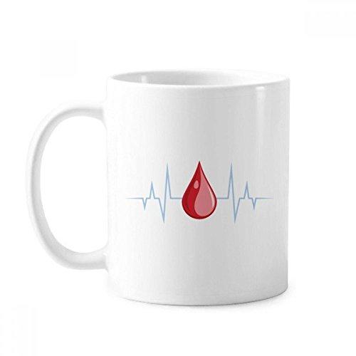 Taza de cerámica con diseño de electrocardiograma, diseño de sangre