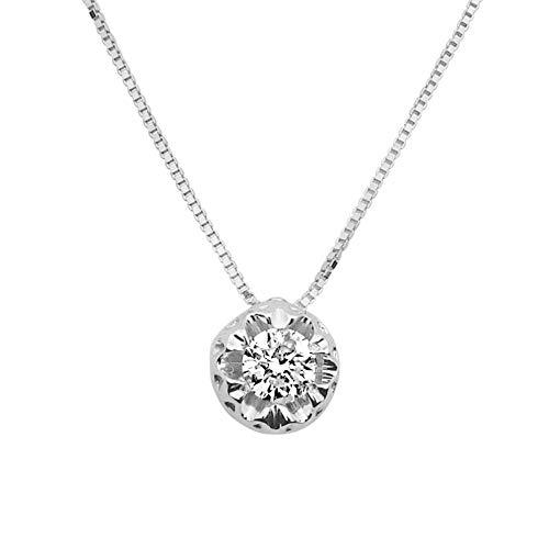 MILLE AMORI ∞ Collana Donna Oro e Diamanti ∞ Oro Bianco 9 Carati 375 Diamante 0,18 Carati ∞ Collezione Diadema + Luce + Volume