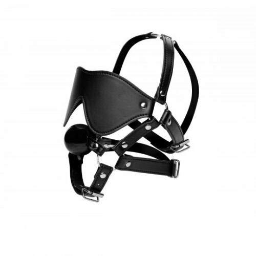 Leather Blindfold Harness & Ball G-Â'G Black