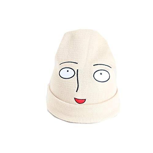 Amazing Cálido Nueva Informal Divertida Linda de la Historieta de Harajuku Un punzón Macho Calvo Jade Bordado de Punto Sombrero Mujer Hombre Sombrero de Punto j0916 (Color : White)
