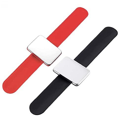 Magnetic Clip de un Brazalete de la Banda de muñeca Correa del cinturón de Pelo 2 Piezas de Herramienta Corazón Moda Peluquería Peluquería Styling (Rojo + Negro) Herramienta de peluquería