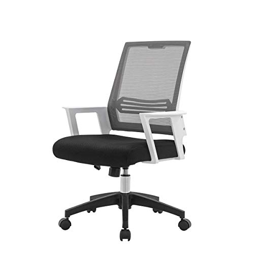 Brisk-Bun Ergonomic Desk Chairs with Wheels and Arms, Adjustable Swivel Lumbar Support Office Chair Task Mesh Chair with armrest for Home and Office Pack of 4, White