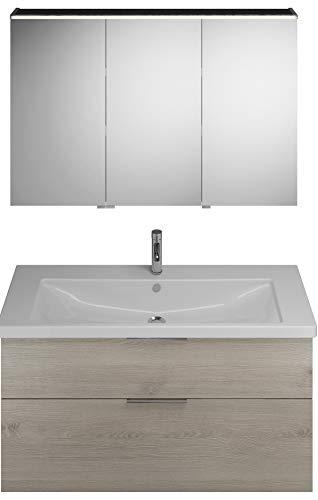 Burgbad Eqio Set, SFAN123R, bestaande uit spiegelkast versie rechts, keramische wastafel en badmeubel, breedte: 1230 mm, Kleur (voorzijde/karkas): Eikenhouten decorflanel / eiken decorflanel, handvat G0146 - SFAN123RF2632G0146
