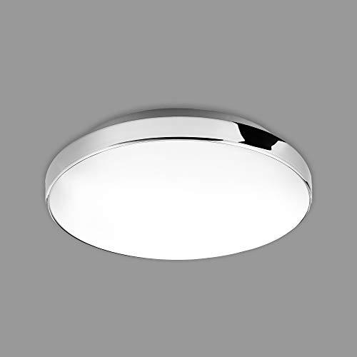 Briloner Leuchten - Plafoniera a LED, lampada da bagno, IP44, 13 Watt, 1.200 Lumen, 4.000 Kelvin, bianco-cromo, Ø 28,5cm