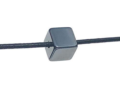 MKöpke® - Hämatit Würfel - Roteisenerz Anhänger gebohrt mit Lederband | 10 mm