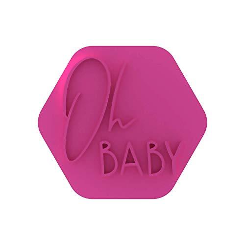 LissieLou Oh Baby Keks-Stempel, Babyparty oder Geschlechtsreveal Party, Zuckerguss, Fondant, Prägung, Hellrosa