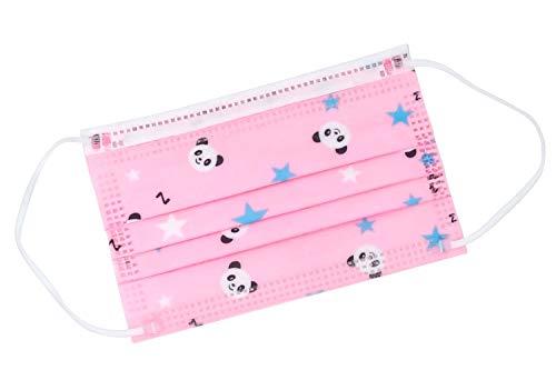 TBOC Mascarilla Higiénica Niños No Reutilizable -  [Pack 30 Unidades] 3 Capas [Color Rosa Panda]