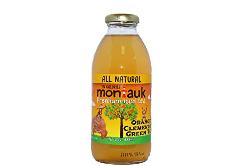 Montauk Iced Tea, Orange Clementine Green Tea, All-Natural Iced Tea, Refreshing Low Sugar Tea, Real brewed tea, 16oz glass bottles (12-pack)