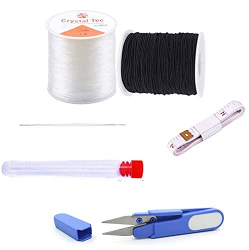 Cordoncino elastico per la fabbricazione di gioielli, colore: nero e trasparente, 50 m x 0,8 mm, per la fabbricazione di braccialetti, perline, collane, artigianato
