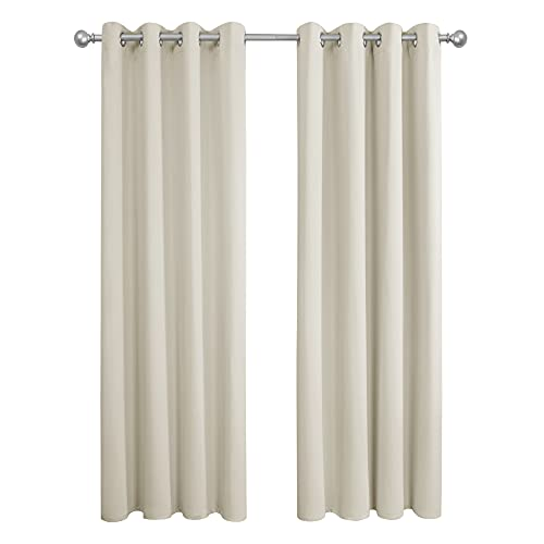 Amazon Brand - Umi Cortinas Opacas Salon Dormitorio con Ojales 2 Paneles 140x245cm Beige Claro