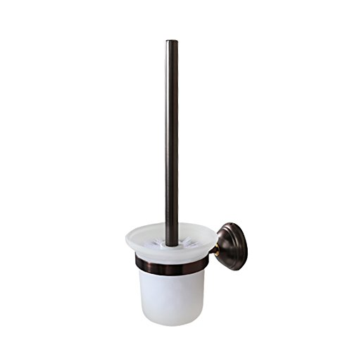 CRO DECOR Oil Rubbed Bronze Toilet Brush and Holder Wall Mounted, Rustproof Solid Brass Removable Frosted Glass for Bathroom Storage Cleaning