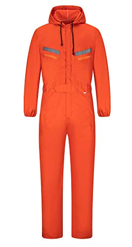 Yukirtiq Herren Arbeitslatzhose Baumwolle Arbeitsoverall Schutzanzug mit vielen Taschen mit Kapuze Latzhose Atmungsaktive Arbeitskleidung für Handwerker (Orange, XL)