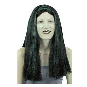 Witch perruque, noir avec des stries vert [Jouet]