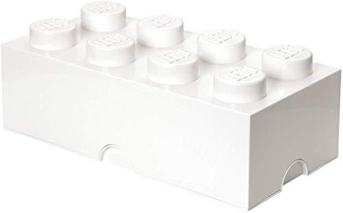 LEGO Aufbewahrungsstein, 8 Noppen, Stapelbare Aufbewahrungsbox, 12 l, weiß