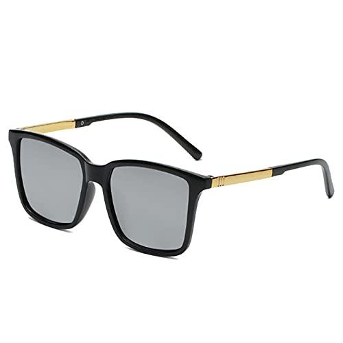 LQG Gafas de Sol Manos de conducción Hombre Gafas de Sol Masculinas para Hombres Retro Barato de Lujo de Lujo diseñador de Marca UV400,Plata