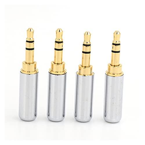YFJLOVE YUFENGJIAO 4 Piezas Blancas de 3,5 mm 3 Polo Reparaciones Masculinas Auriculares Jack Plug Connector Audio Soldador de Audio