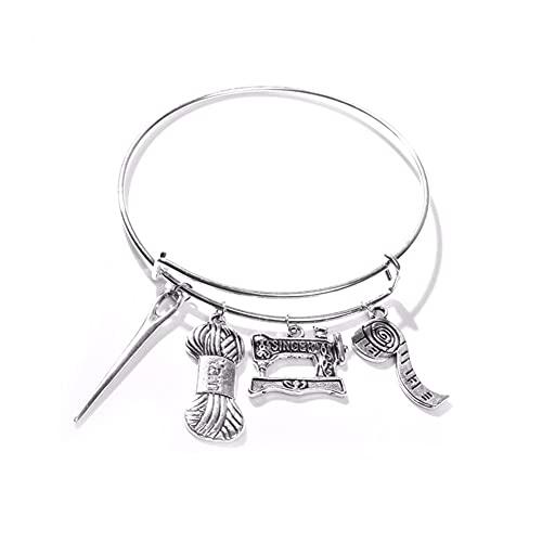 XiaoG Vintage Chinese Memory Charm Bracelets Plateado Tijeras Tijeras Softing Brazalete (Color : 6)