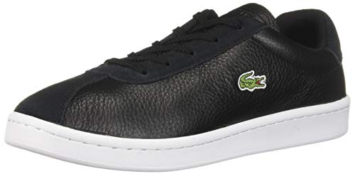 Lacoste Women's Masters Sneaker, Black/Off White Leather, 6.5 Medium US