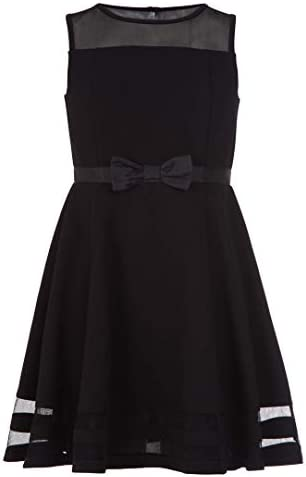 Calvin Klein Girls Sleeveless Mesh Lace Party Dress with Bow Black 14 product image