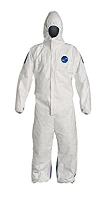 DuPont TD127SWBMD0025CM Dual Tyvek/Proshield Protective Coverall with Zipper Front, Hood and Elastic Cuffs