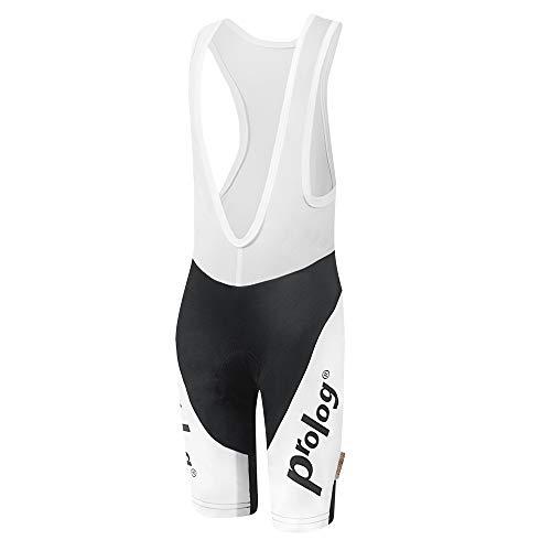 prolog cycling wear Kinder Fahrradhose gepolstert für Mädchen, Radhose mit Träger Größe 122, 128, 134, 140, 146, 152, 158, schwarz weiß