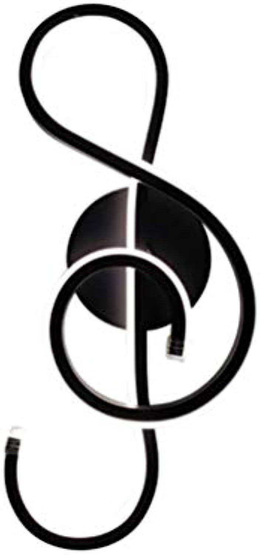 Sallypan Musikalische Anmerkungs-Wandlampe, einfache kreative geführte Hintergrund-Wand-Licht-Wandlampen für Wohnzimmer-Restaurant-Schlafzimmer-Dekoration,schwarz