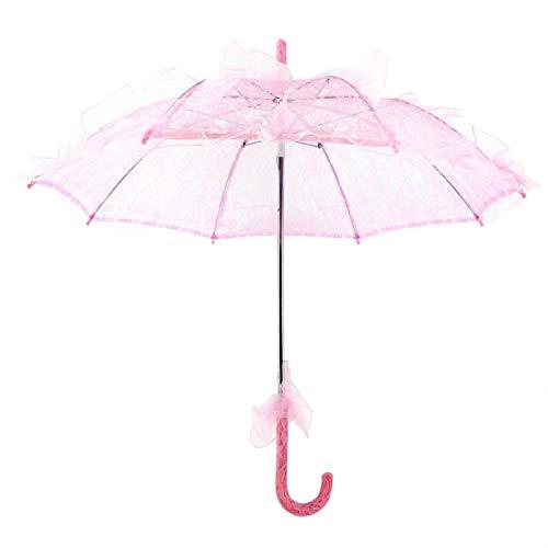 Multi-couleurs élégant mariage photographie mariée parapluie dentelle auvent pour fête danse photographie performances théâtrales utilisation quotidienne(Pink)