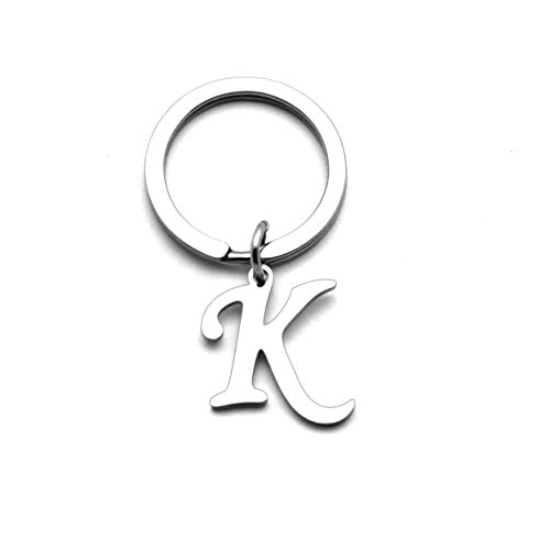 Personalized Women Men Silver Letter Alphabet Initial Keyring Bag Car Key Ring Chain (K)