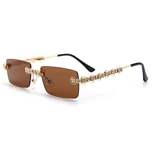 SHEEN KELLY Gafas de sol delgadas con diamantes de imitación para hombres y mujeres Gafas de sol rectangulares sin montura Gafas de diamantes vintage