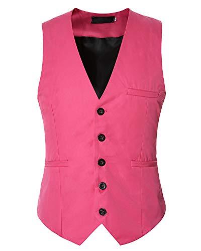 Herren Anzugweste V-Ausschnitt Einreihig Weste Ärmellos Einfarbig Basic Mantel Pink 4XL