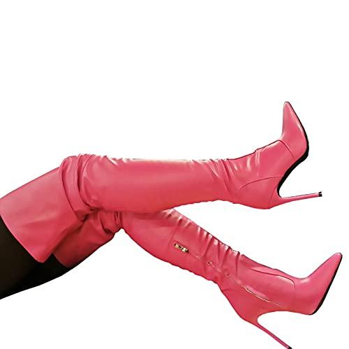 ZHENGRUI Cuissardes Femmes,Hautes Cuissardes Sexy à Talons Aiguilles Pointus Mode Automne Hiver FêTe Masquerade Bar,Pink-38