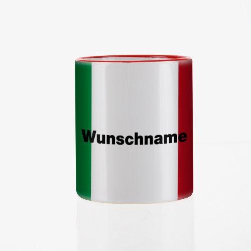 Herz & Heim® Tasse mit Wunschnamen und Flagge - Italien -