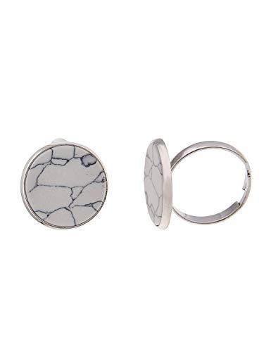 Leslii Damen-Ring Marmor-Naturstein Stein-Ring Stein-Schmuck weißer Weiss grau Grauer verstellbar