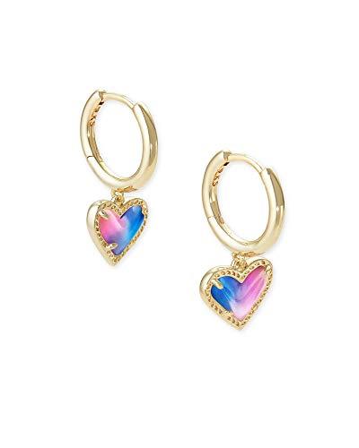 Kendra Scott Ari Heart Huggie Earrings in Gold Watercolor Pearlized Clear Glass