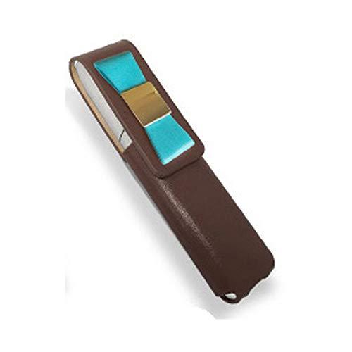 IQOS 3 MULTI 専用 アイコス3 リボン 本革 マルチ ケース (ブラウン/ブルーリボン) iQOSケース シンプル 無地 保護 カバー 収納 カバー 全4色 電子たばこ 革