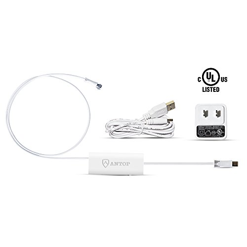 Antop High Gain TV Antenna Amplifier Signal Booster with USB Power Supply, Compatible with All Non-Amplified Antenna, 3ft Coaxial Cable, 5ft USB Cable, White