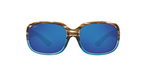 Costa Del Mar Women's Gannet Polarized Rectangular Sunglasses, Tortoise/Grey Blue Mirrored Polarized-580P, 58 mm