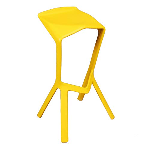 SANDM Minimalist Creative Bar stools, Modern Breakfast stools Plastic All-in-one Pub Stool Base for Counter Home-Yellow