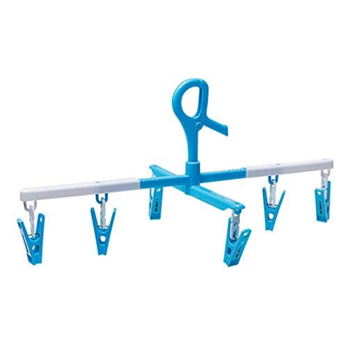 CHENG Einziehbare Haushaltshosen Hosen Hosen Mehrzweckwinddichter Kleiderbügel Multifunktions-Wäscheständer Blau-Weiß (2er-Pack)