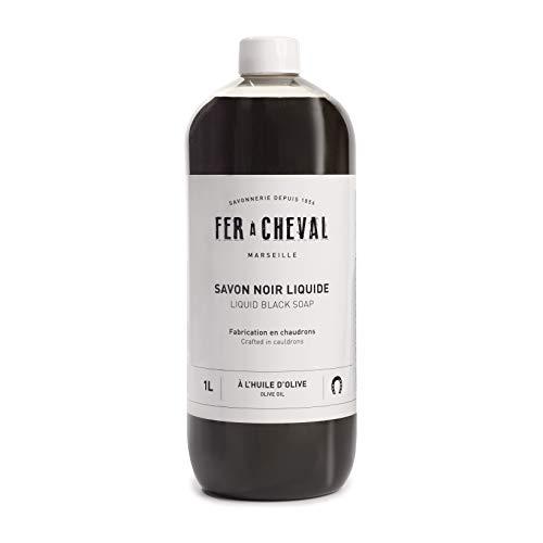 Fer à Cheval - Véritable Savon de Marseille Noir Liquide à l'Huile d'Olive Extra pur Minimum 72% d'Huile, Détergent Multifonctionnel Concentré - Sans Huile de Palme ou conservateurs - 1 Litre