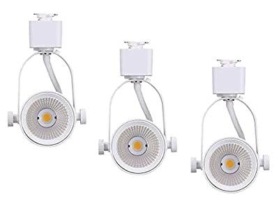 Cloudy Bay Juno Type LED Track Light Head,10W CRI 90+ 3000K Warm White Dimmable,Adjustable Tilt Angle Track Lighting Fixture, 40° Angle for Accent Retail,White Finish-3 Pack