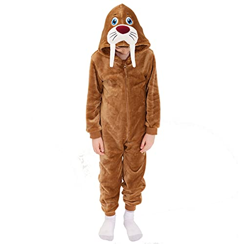 Kids Snug Fit Flannel Walrus Costume Animal Onesie Pajamas for Boys Girls (Walrus, 6 Years)
