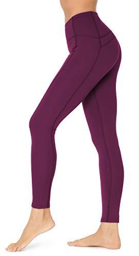 QUEENIEKE Women Yoga Leggings Ninth Pants Mid Waist Running Gym Tights Size M Color Dark Rose Red