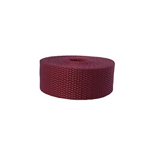 Cincha de polipropileno de 2,5 cm de ancho para bricolaje al aire libre, bolsa y accesorio de ropa, 3 metros por rollo (vino)